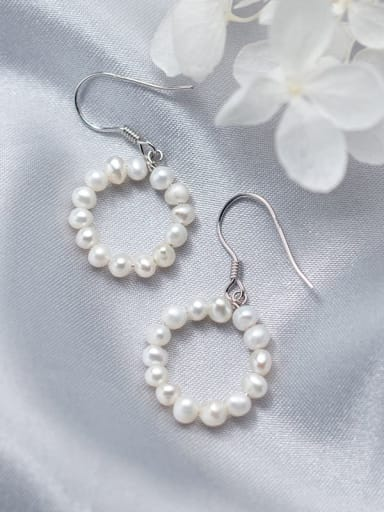 925 Sterling Silver Imitation Pearl Round Minimalist Hook Earring