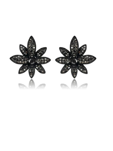 Fashion Metal Rhinestone Black Leaf Vintage Stud Earring