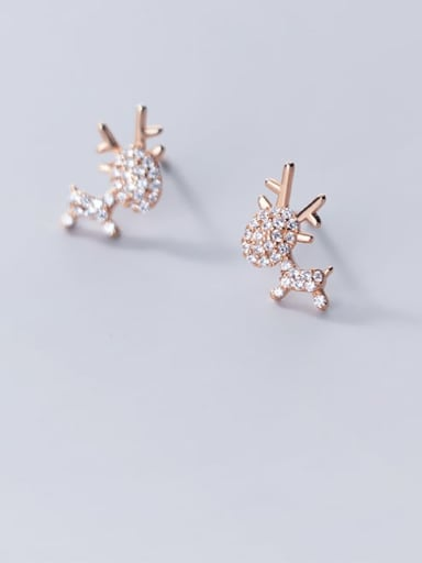 925 Sterling Silver Rhinestone Deer Cute Stud Earring