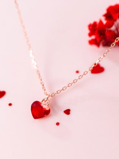 925 Sterling Silver Red Heart Minimalist Necklace