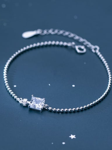 925 Sterling Silver Cubic Zirconia White Square Minimalist Beaded Bracelet