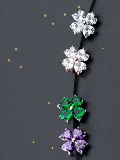 925 Sterling Silver Cubic Zirconia Multi Color Flower Minimalist Stud Earring