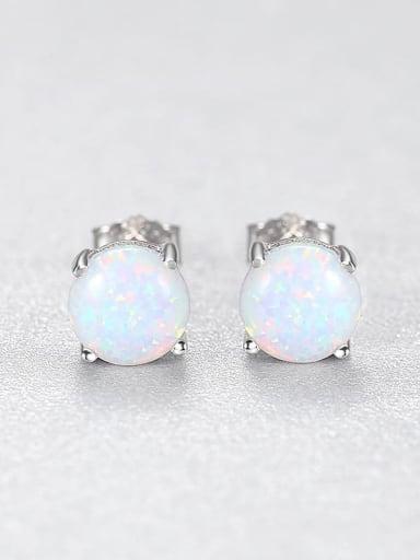 White 24A02 925 Sterling Silver Opal Geometric Minimalist Stud Earring