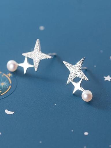 925 Sterling Silver Rhinestone Star Minimalist Stud Earring