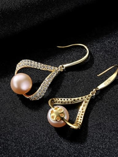 18K gold powder bead 3E11 925 Sterling Silver Freshwater Pearl White Geometric Trend Drop Earring