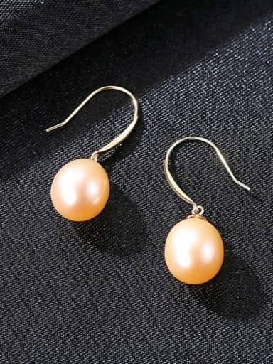 Pink 04B04 925 Sterling Silver Freshwater Pearl Multi Color Oval Minimalist Hook Earring