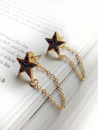 925 Sterling Silver Rhinestone Blue Star Dainty Threader Earring