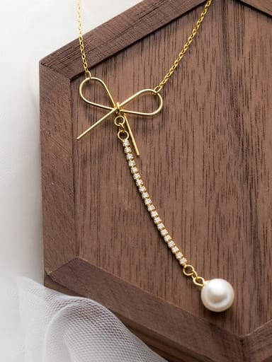 925 Sterling Silver Imitation Pearl Bowknot Minimalist Lariat Necklace
