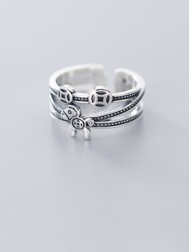 925 Sterling Silver    Retro Multilayer Fashion Horse Coin Stackable Ring