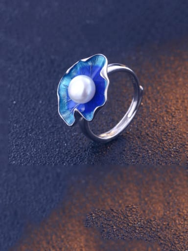 925 Sterling Silver Enamel Imitation Pearl Flower Minimalist Band Ring