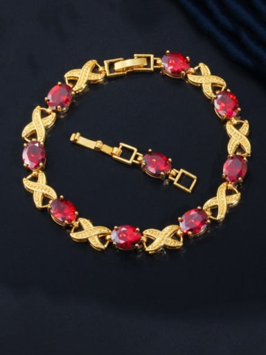 gules Copper Cubic Zirconia Geometric Luxury Bracelet