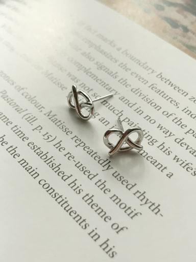 925 Sterling Silver Bowknot  Cardioid Minimalist Stud Earring