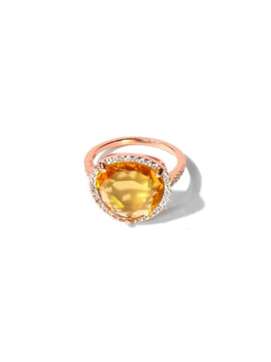 rose yellow Copper Cubic Zirconia Multi Color Water Drop Minimalist Band Ring