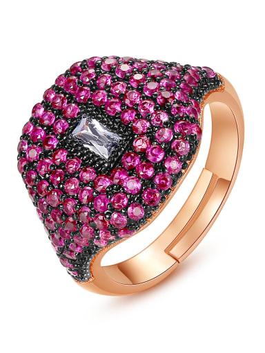 Copper Rhinestone Geometric Dainty Band Ring