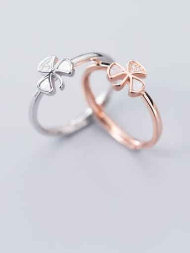 925 Sterling Silver Cubic Zirconia White Flower Minimalist Free Size Ring