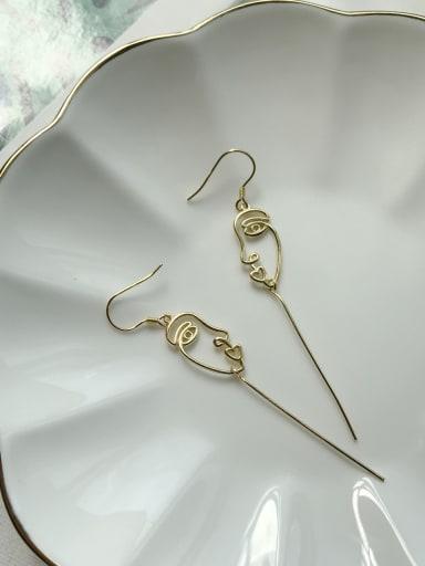 925 Sterling Silver Minimalist  Face Tassel  Threader Earring