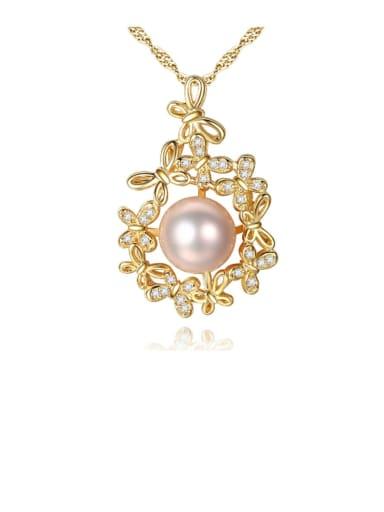 925 Sterling Silver Freshwater Pearl Zircon flower pendant Necklace