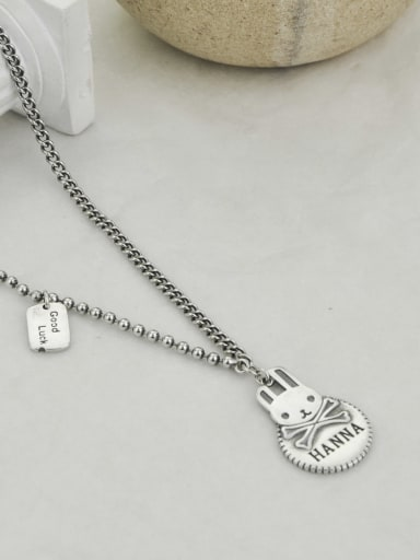 40+ 5cm Vintage Sterling Silver With Platinum Plated Simplistic Rabbit Power Necklaces