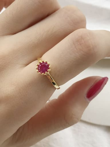 925 Sterling Silver  Red Round  Cubic Zirconia Minimalist Free Size Midi Ring