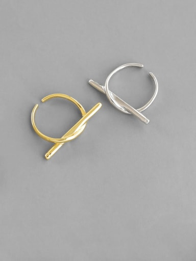 925 Sterling Silver With Gold Plated Simplistic Round Free Size Rings