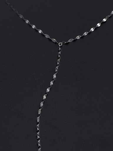 925 Sterling Silver Tassel Minimalist Lariat Necklace