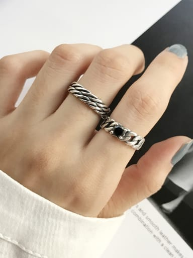 925 Sterling Silver Vintage   Double Layer Twisting  Stackable Ring