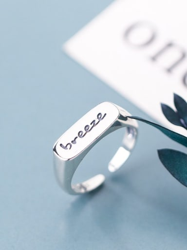925 Sterling Silver Letter Minimalist Free Size  Ring