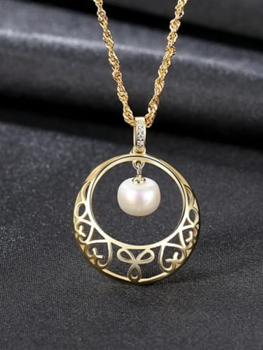 White 6K12 925 Sterling Silver Freshwater Pearl Hollow Round Pendant Necklace