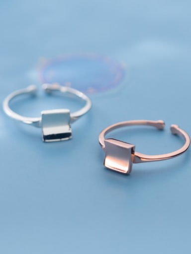 925 Sterling Silver Square Minimalist Free Size Ring