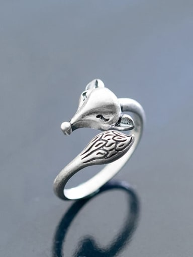 925 Sterling Silver Fox Vintage free size Ring