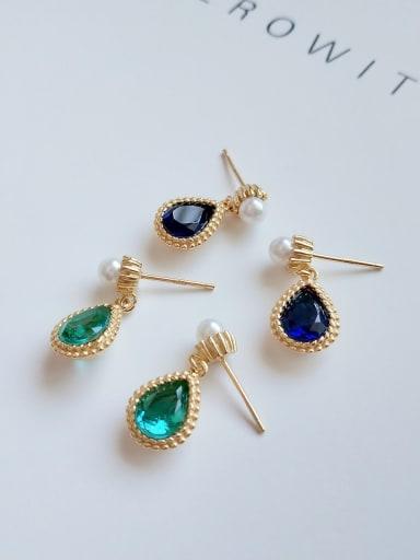 925 sterling silver glass  stone water drop minimalist Hook Earring