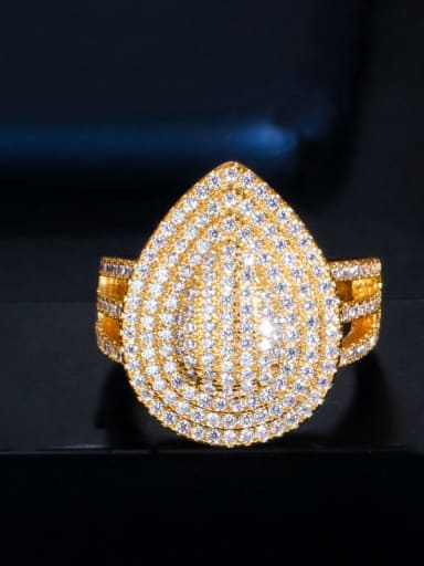 Copper Cubic Zirconia Water Drop Luxury Band Ring