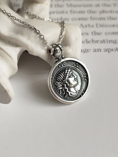925 Sterling Silver Round Artisan Portrait Necklace