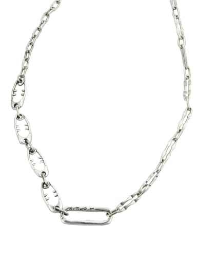 Vintage Sterling Silver With Platinum Plated Simplistic Geometric Necklaces