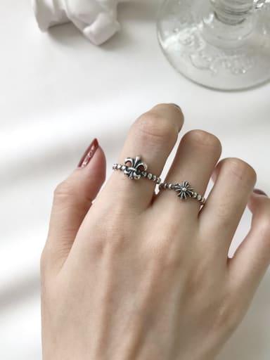 925 Sterling Silver Cross/flower Vintage Geeky Ring