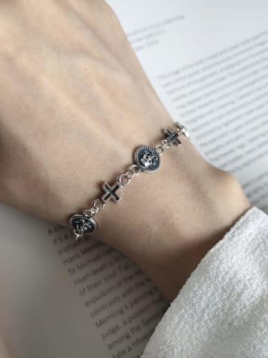 925 Sterling Silver Skull cross Vintage Charm Bracelet
