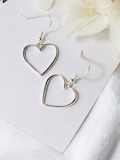 925 Sterling Silver Heart Minimalist Hook Earring