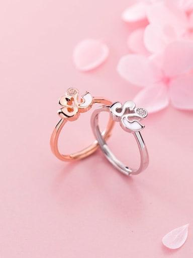 925 sterling silver enamel  swan minimalist free size ring
