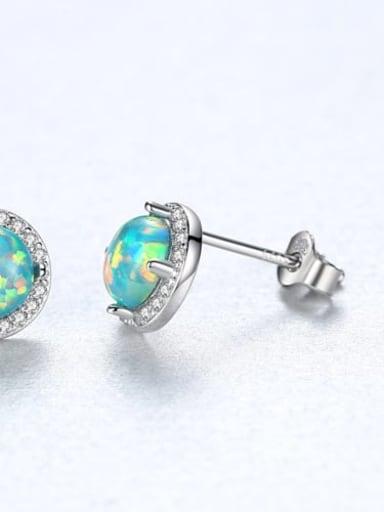 Green 18e04 925 Sterling Silver Opal Round Minimalist Stud Earring