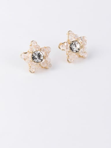 Zinc Alloy Crystal White Flower Cute Stud Earring
