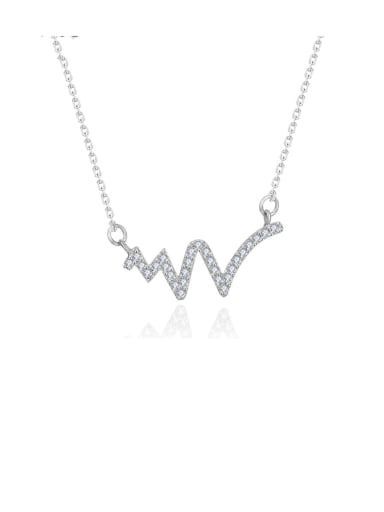 925 Sterling Silver Cubic Zirconia  Irregular Dainty Necklace