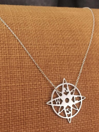 925 Sterling Silver Simple Hollow Round Flower Pendant Necklace