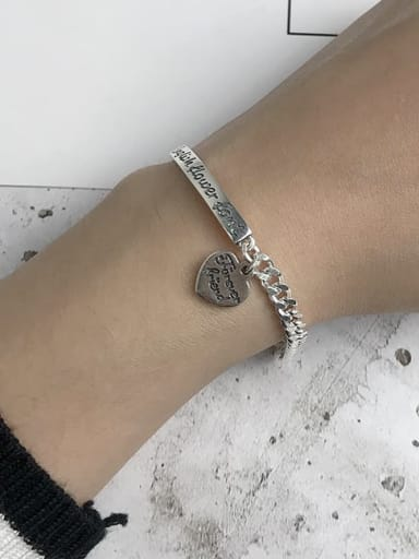Vintage Sterling Silver With Antique Silver Plated Fashion Heart Bracelets