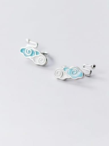 925 Sterling Silver Enamel Cloud Minimalist Stud Earring