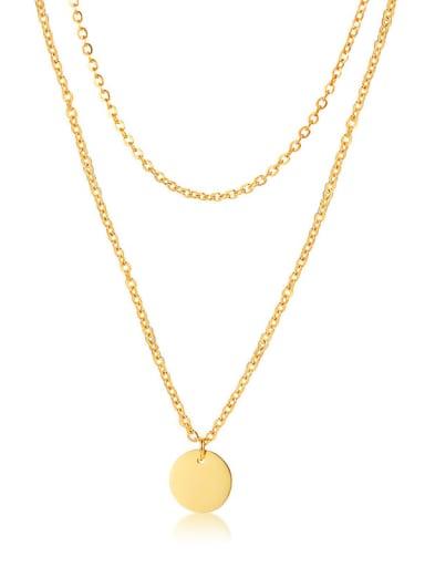 Two Layers Of round Titanium Cross Minimalist Multi Strand Necklace
