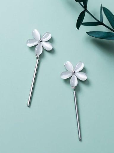 925 Sterling Silver Cats Eye Flower Minimalist Drop Earring