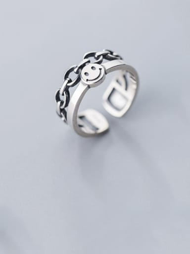 925 Sterling Silver Vintage smile Double layer Free Size Ring