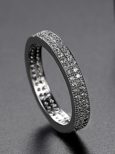 Platinum  US 6 Copper Cubic Zirconia Round Minimalist Band Ring