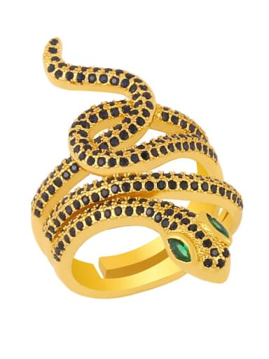 black Brass Cubic Zirconia Snake Vintage Band Ring