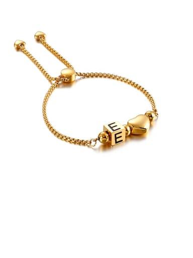 E Titanium Black Enamel  26 Letter Minimalist Adjustable Bracelet